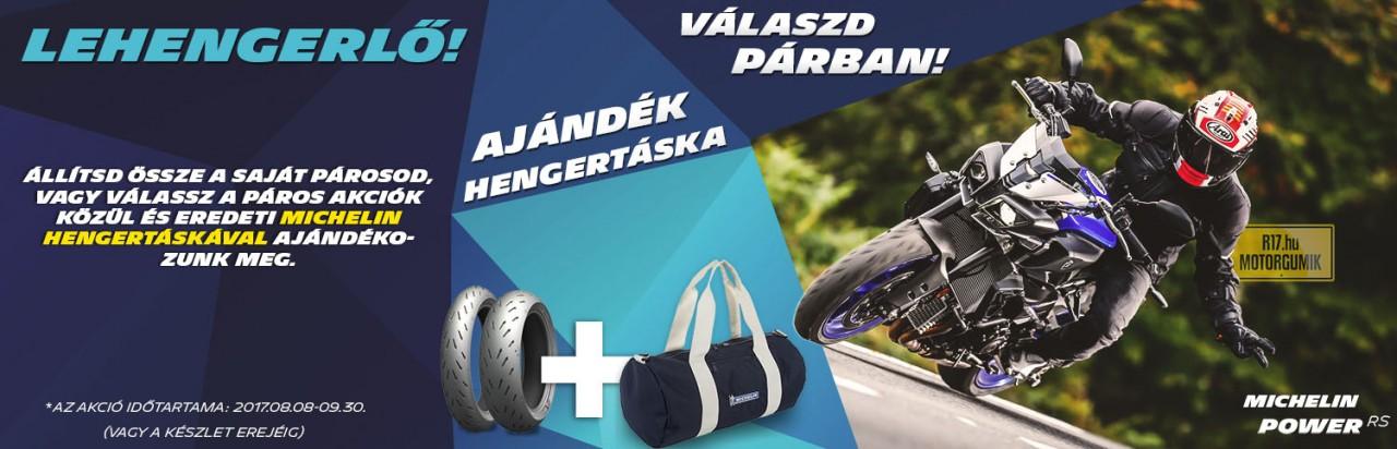 Michelin Power RS - Ajándék hengertáskával - Állítsd össze a saját párosod vagy válassz a páros akciók közül és eredeti Michelin Hengertáskával ajándékozunk meg.